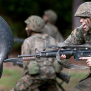 Marine recruits go through the bayonet assault training course at Parris Island, S.C., on May 13, 2011.