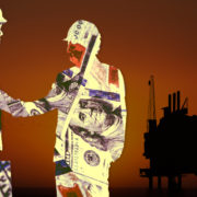 Two silhouettes of businessmen covered in money, an offshore oil rig in the background