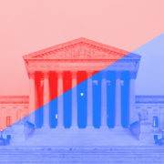 The Supreme Court with a blue and red overlay