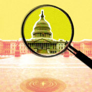 A magnifying glass hovers over the U.S. Capitol.
