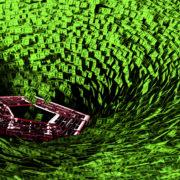 Pentagon in the center of a vortex of hundred dollar bills.