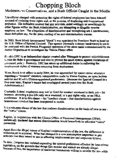 Copy of a document related to Scott Bloch
