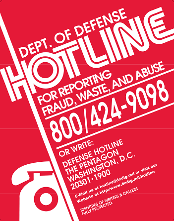 Graphic of the DoD Whisteblower Hotline Poster