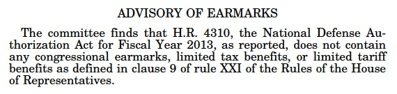 Text from the Congressional Record on the Advisory of Earmarks (HR 4310)