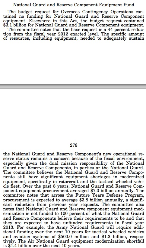 Image of the text from the Congressional Record on the National Guard and Reserve Component Equipment Fund