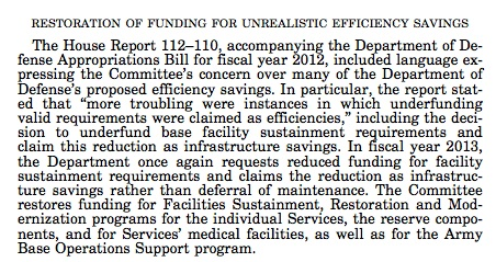 Image of text from the Congressional Record on the Restoration of Funding For Unrealistic Efficiency Savings