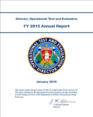 graphic image of the Director, Operational Test and Evaluation FY 2015 Annual Report cover