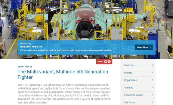 Screenshot of the F-35.com website