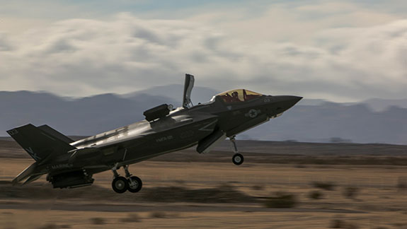 Photograph of a F-35B Lightning II joint strike fighter performing a conventional take-off.