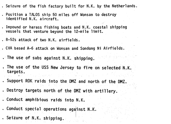 From a declassified 1970 report, plans for actions against North Korea.
