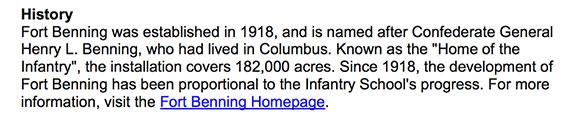 Screenshot from the Fort Benning Website