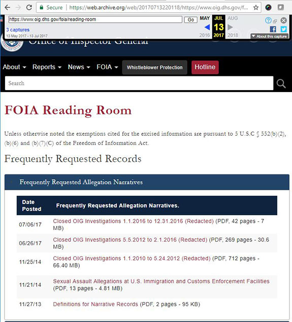 Screenshot of documents from July 23, 2017, that have since been removed from the DHS OIG website.
