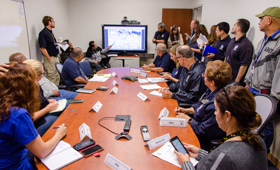 FEMA holds morning briefing with senior staff to assess needs after Hurricane Irma impacts Puerto Rico.