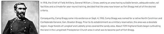 Screenshot from the Fort Bragg Website