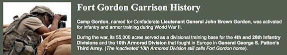 Screenshot from the Fort Gordon Garrison History Webpage