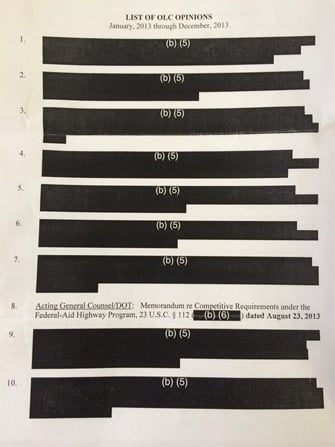 OLC opinion heavily redacted