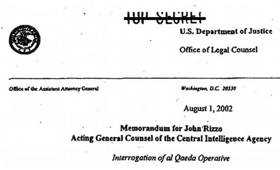 Screenshot of title on OLC memo titled Interrogation of al Qaeda Operative
