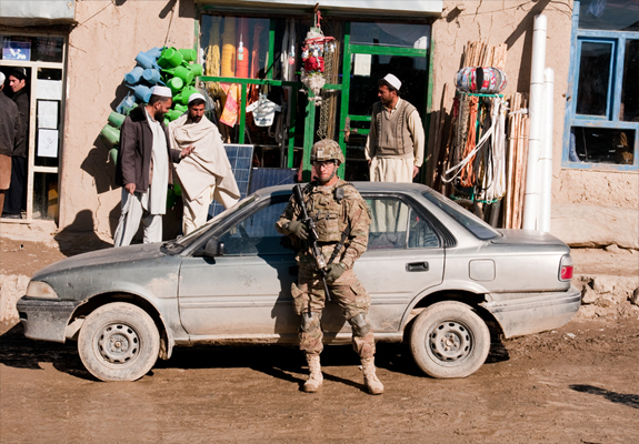 US soldier in an Afghan market