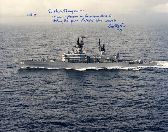 The cruiser USS Fox helped protect oil shipments in the Persian Gulf in 1987.