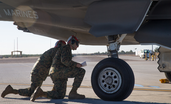 Marines load F-35