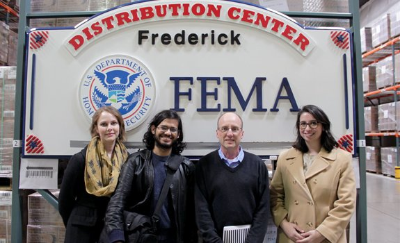 POGO staff in a FEMA commodity distribution center facility in Frederick, Maryland.