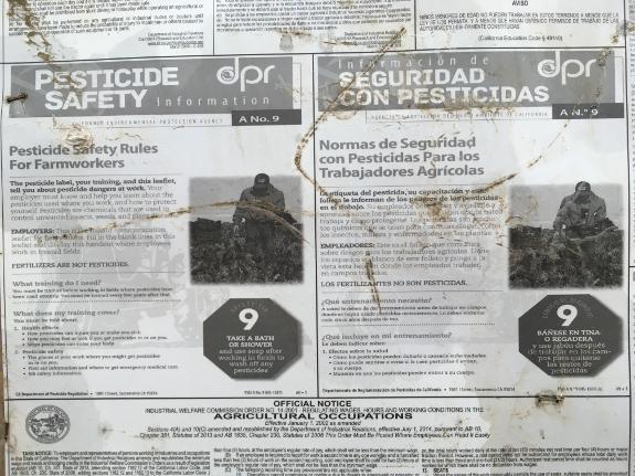 Salinas pesticide warning poster