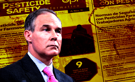 EPA Administrator Scott Pruitt in front of a pesticide safety poster