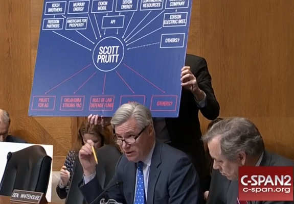Sheldon Whitehouse holds up a diagram of Scott Pruitt's ties to the energy sector during his confirmation hearing.